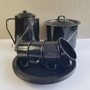 Vtg 12 PC 803 American Camper 4 Person Enameled Steel Cook Set Camping Pan Dish